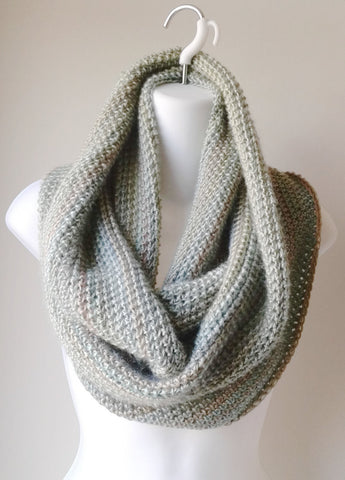 Lightweight Pastel Circle Scarf Green Grey Tan Infinity Scarf - Smitten Kitten Originals Knits - 1