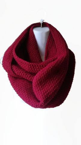Red Wool Blend Circle Scarf - Smitten Kitten Originals Knits - 1