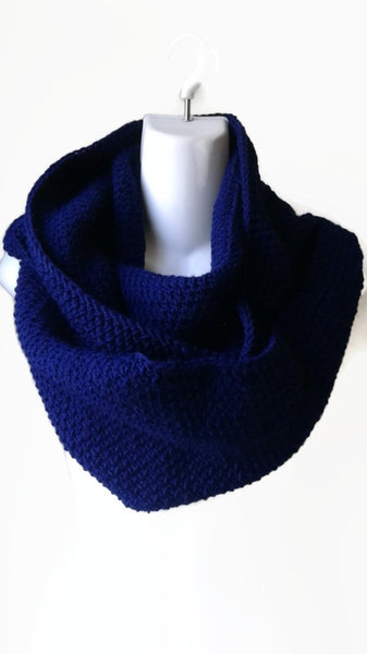Navy Blue Wool Blend Circle Scarf Infinity Scarf - Smitten Kitten Originals Knits - 1