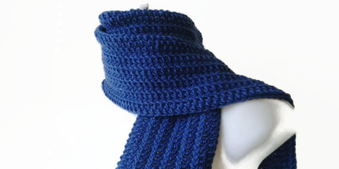 Royal Blue Pure Wool Crochet Scarf - Smitten Kitten Originals Knits - 1