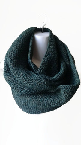 Evergreen Pine Wool Blend Circle Scarf - Smitten Kitten Originals Knits - 1