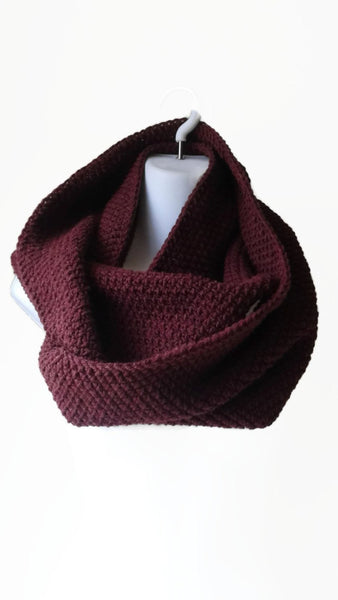 Burgundy Oxblood Wool Blend Circle Scarf - Smitten Kitten Originals Knits - 1