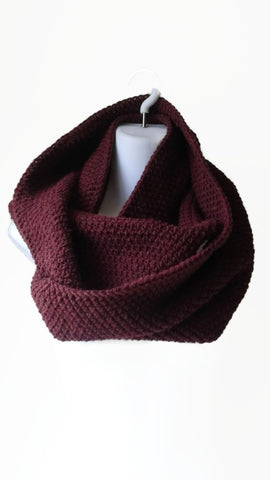 Burgundy Oxblood Wool Blend Circle Scarf