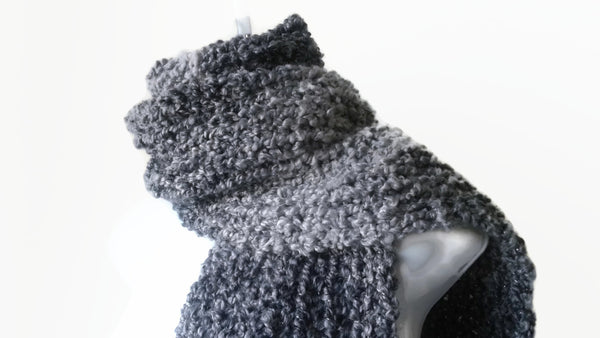 Grey Black Chunky Soft Knit Scarf - Smitten Kitten Originals Knits - 1