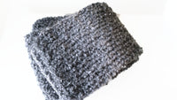 Grey Black Chunky Soft Knit Scarf - Smitten Kitten Originals Knits - 4