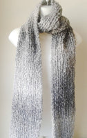 Grey Black Chunky Soft Knit Scarf - Smitten Kitten Originals Knits - 3