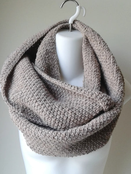 Taupe Wool Blend Infinity Scarf - Smitten Kitten Originals Knits - 1
