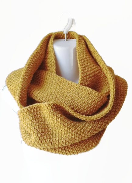 Gold Yellow Wool Blend Infinity Scarf - Smitten Kitten Originals Knits - 1