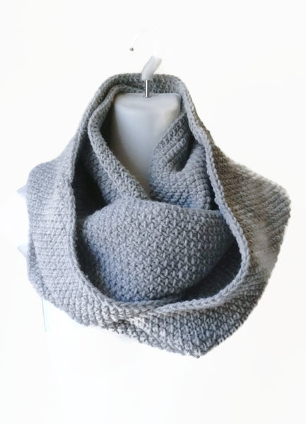Pale Grey Wool Blend Circle Scarf - Smitten Kitten Originals Knits - 1