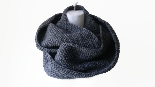 Charcoal Grey Wool Blend Infinity Scarf - Smitten Kitten Originals Knits - 1