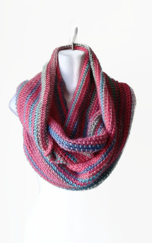 Lightweight Pink Blue Infinity Circle Scarf - Smitten Kitten Originals Knits - 1