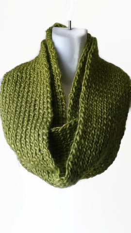 Moss Green Knit Infinity Scarf - Smitten Kitten Originals Knits - 1