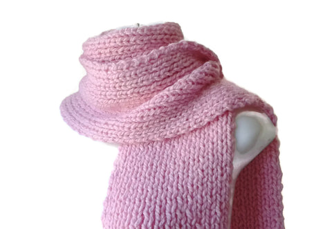 Blush Pink Rib Knit Scarf - Smitten Kitten Originals Knits - 1