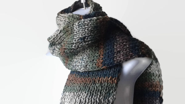 Brown Green Woodsy Vegan Knit Scarf - Smitten Kitten Originals Knits - 1