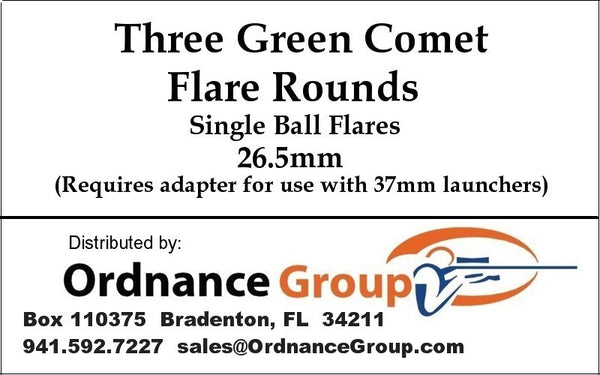 26.5mm Green Comet Flares <br>3 Round Pack or 10 Round Box