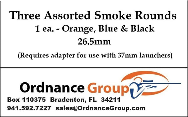 26.5mm Smoke  - Orange, Blue and Black <br> 3 Round Assortment Pack or 10 Round Box