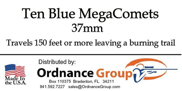 37mm Red and Blue MegaComets <br> 2 Round Package or 10 Round Box