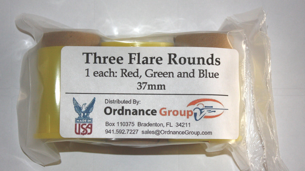 37mm Flares<br>Red, Green and Blue - 3 Packs and 10 Round Boxes
