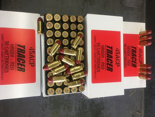 .45 ACP Tracers - Green to Red 50rd. Box