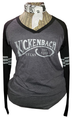 Ladies Longsleeve Sport Black V-Neck