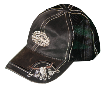 Cap Oiled Canvas Black Longhorn