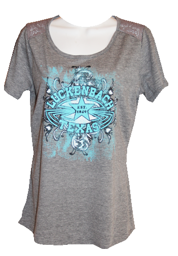 Ladies Gray Lace Shoulder Scoop Tee