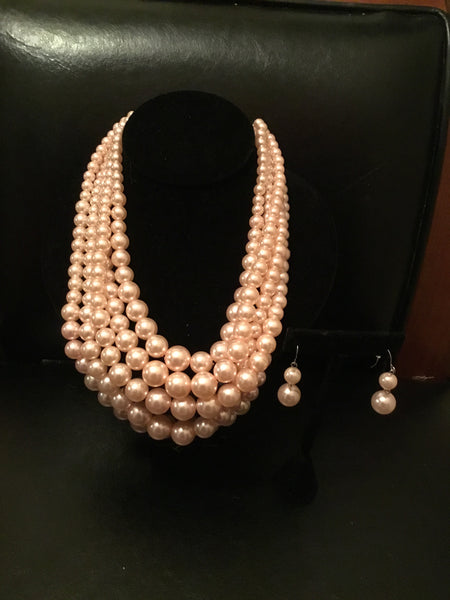 Baby pink 5 strand pearl necklace set