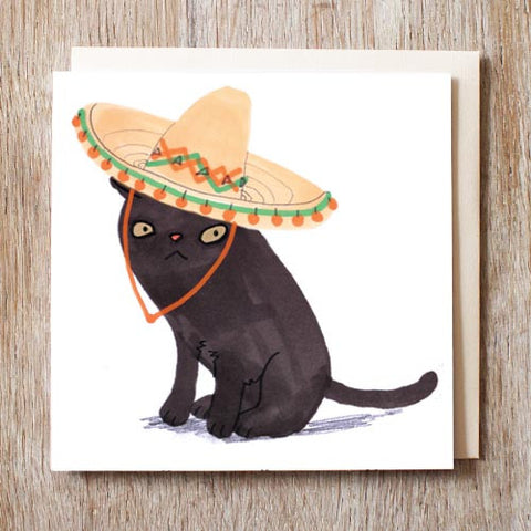 Caspar the Black Cat in Sombrero Card - meow meow