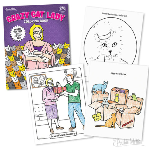 Crazy Cat Lady Colouring Book - meow meow  - 2