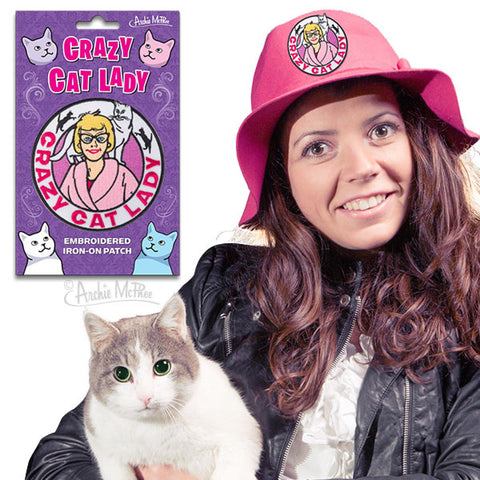 Crazy Cat Lady Embroidered Patch - meow meow