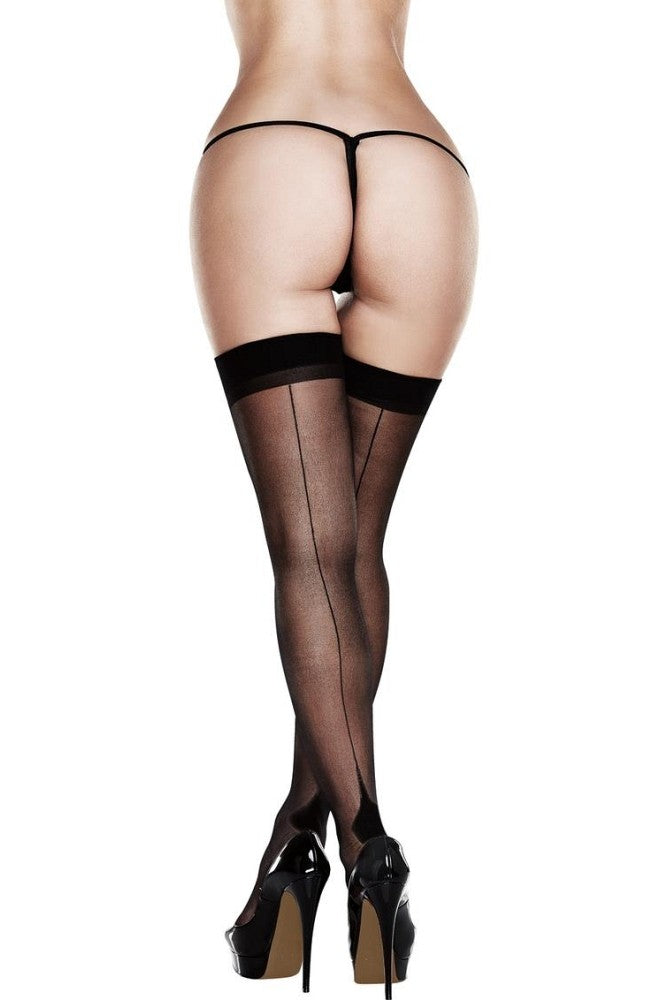 Baci Black Sheer Cuban Heel Thigh Highs