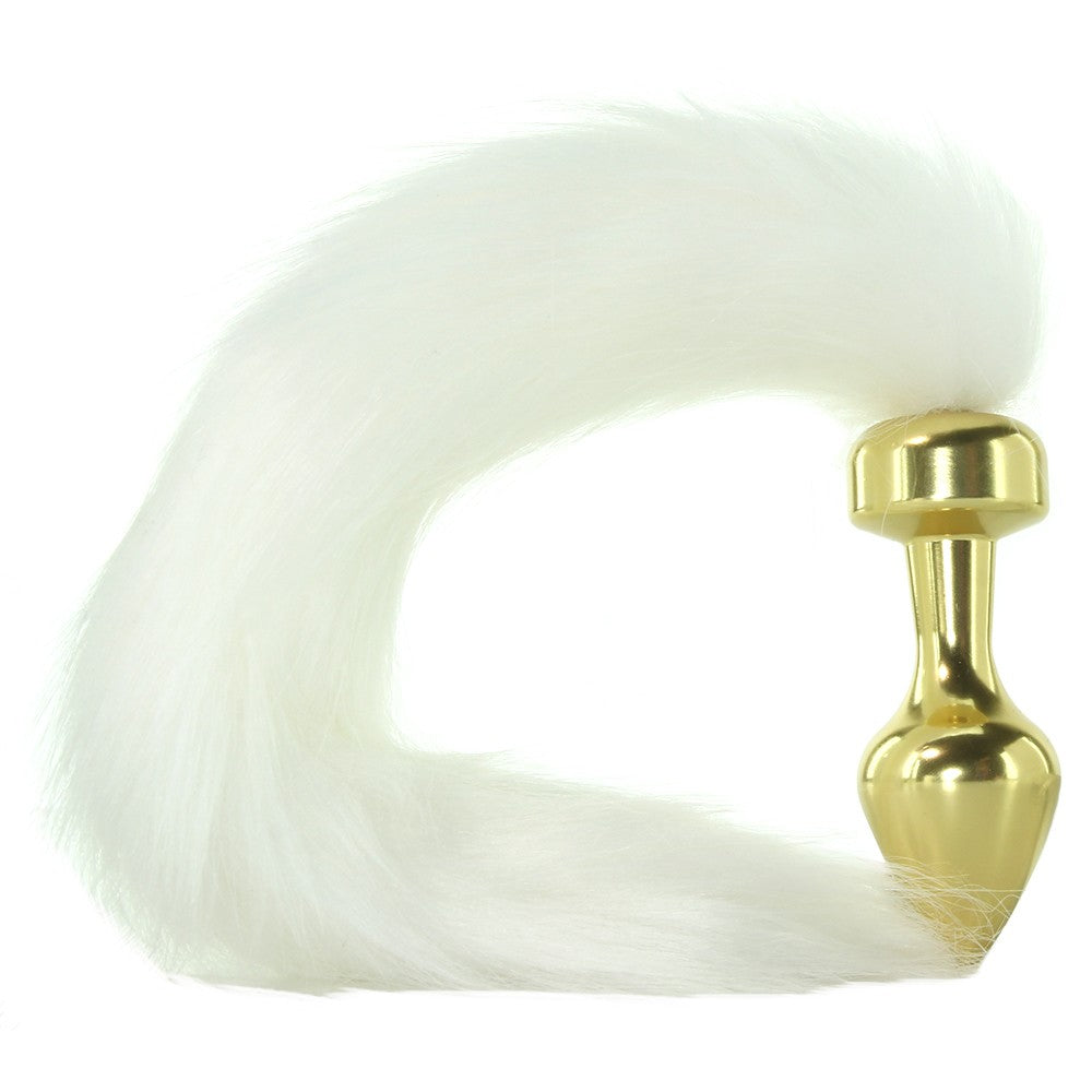 Snow fox play? Yes please!! This stylish gold metal plug is sure to fulfill your foxy desires.  It has a luxurious white faux fur tail and a lavish gold finish that is smooth and condusive to temperature play. It has a gradual taper for easy insertion, and it's long neck will ensure this toy will stay in place.   Compatible with all lubricants, and the plug portion can be immersed fully for easy clean up.  Measures 2.5 inches of insertable length with a circumference of 1.6 inches.