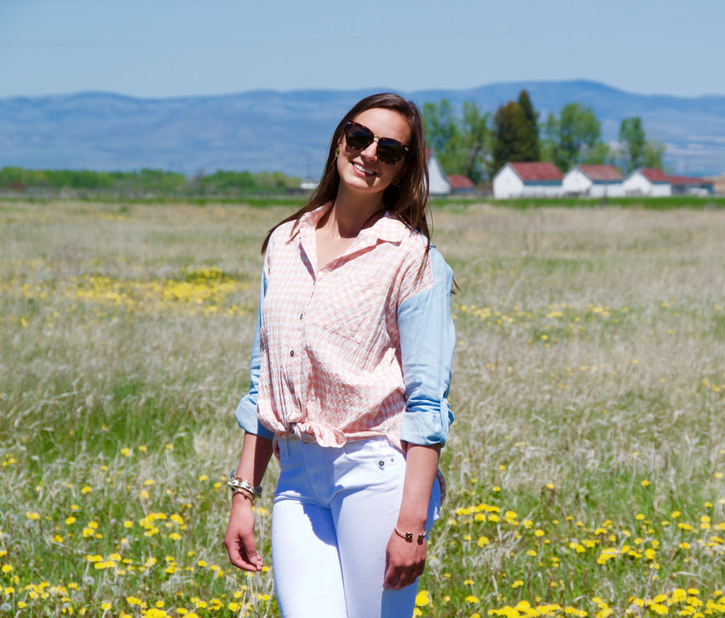 Gingham Light Pink and Blue Button Down Shirt