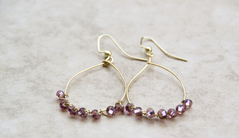 Gold and Purple Drop Hoop