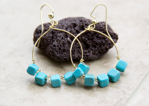 Square Bead Turquoise Earrings