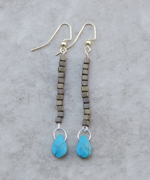 Bronze and Turquoise Earring