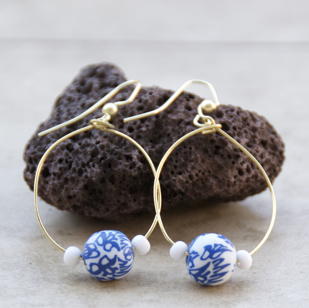 Blue & White Clay Bead Earring