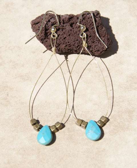 Turquoise Drop on Delicate Wire