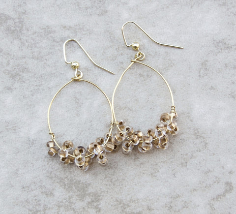 Gold Beaded Drop Earring