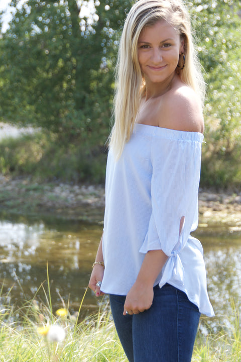 Off The Shoulder Blue and White Striped Blouse