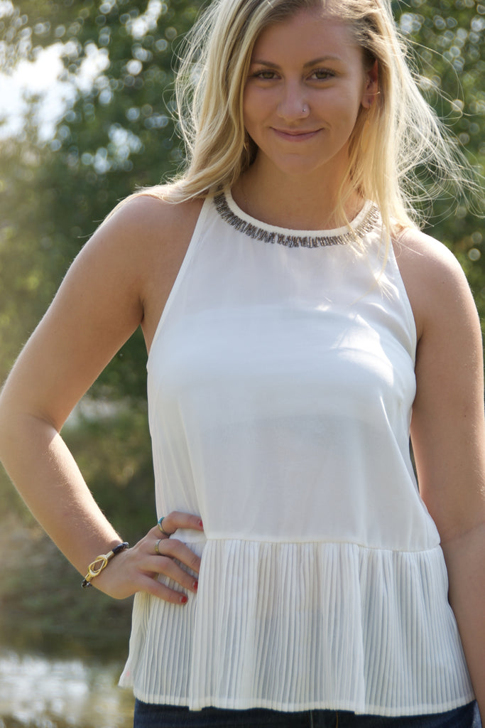 White Halter Shirt with Beaded Detail
