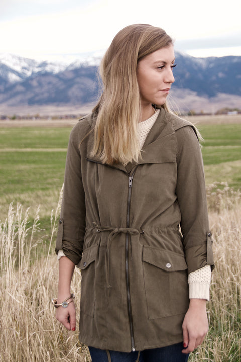 Olive Zip Up Jacket - Chace & Co. LLC