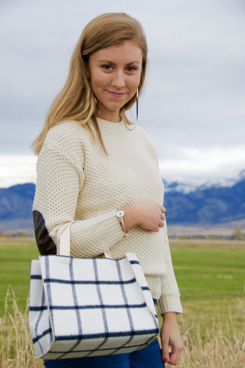 Soft Ivory Check Mini Tote - Chace & Co. LLC