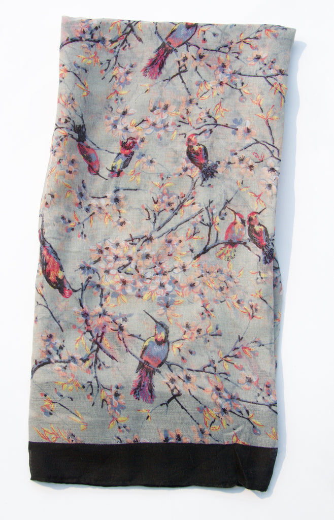 Grey and Prink Songbird Scarf