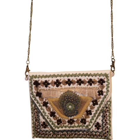 Embroidered Cross-body Clutch