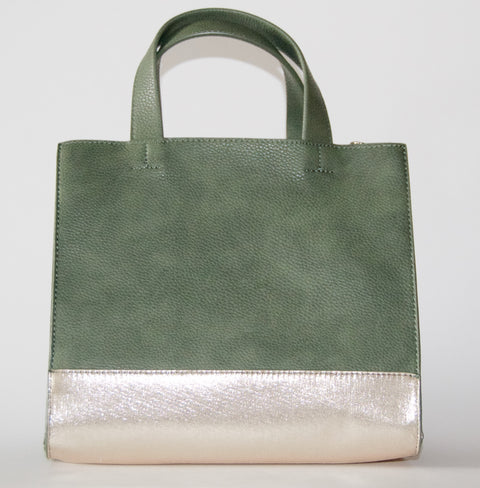 Green Mini Tote With Metallic Bottom - Chace & Co. LLC