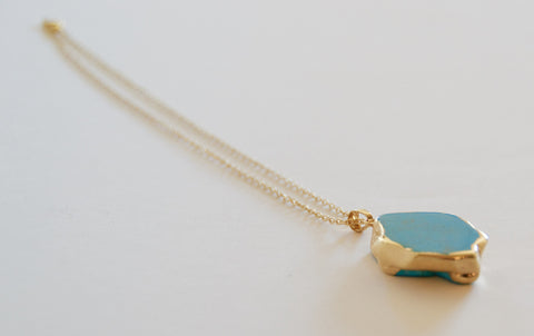 "Turquoise Jasper Pendent with 16"" Gold Plated Chain - Chace & Co. LLC"