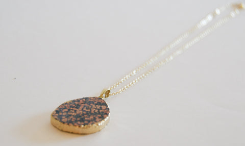 "Black and Pink Druzy Pendent with 18"" Gold Plated Chain - Chace & Co. LLC"