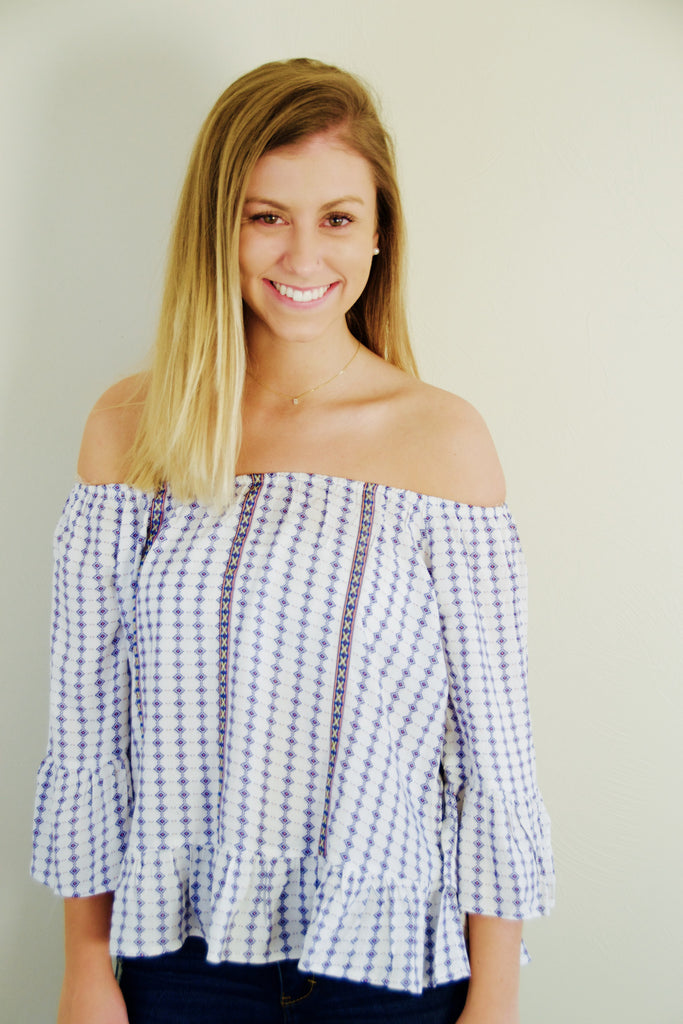 Off The Shoulder Blue and White Blouse