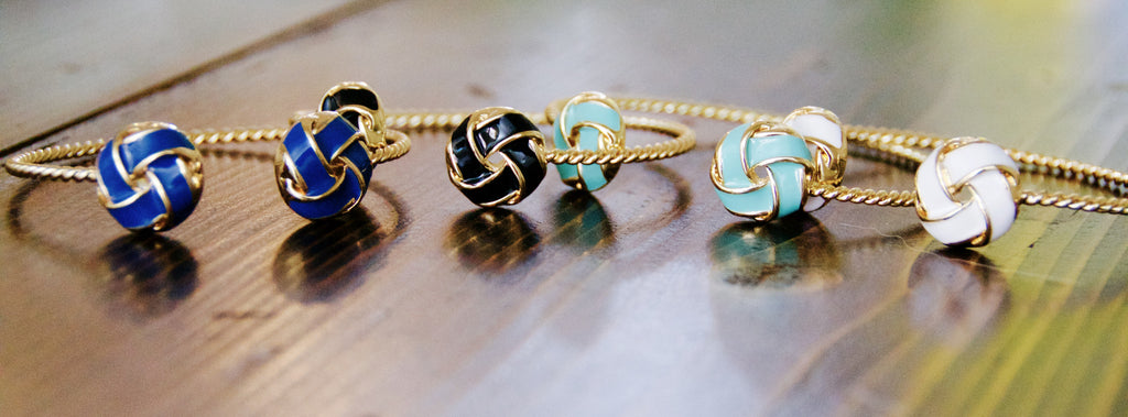 Enamel Twist Bracelets in White, Blue, Aqua and Black